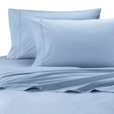 Wamsutta® Cool Touch Percale Egyptian Cotton Twin Flat Sheet in Light Blue