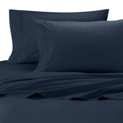 Wamsutta® Cool Touch Percale Egyptian Cotton Olympic Queen Flat Sheet in Navy