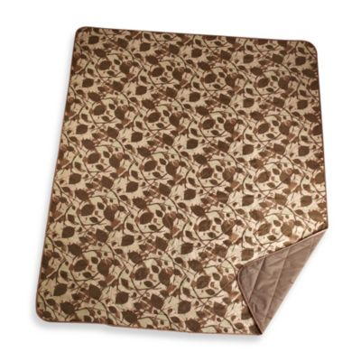 Out & About Indoor/Outdoor Water Repellent Camo Leaves Travel Throw Blanket