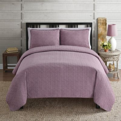 Intrigue 3-Piece Full/Queen Quilt Set in Purple/White