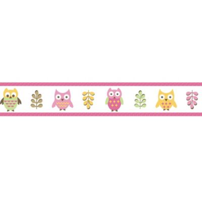 Sweet Jojo Designs Happy Owl Wallpaper Border in Pink