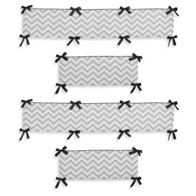 Sweet Jojo Designs Zig Zag Crib Bumper in Grey/Black