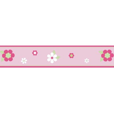 Sweet Jojo Designs Flower Wallpaper Border in Pink/Green