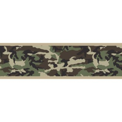 Sweet Jojo Designs Camo Wallpaper Border in Green