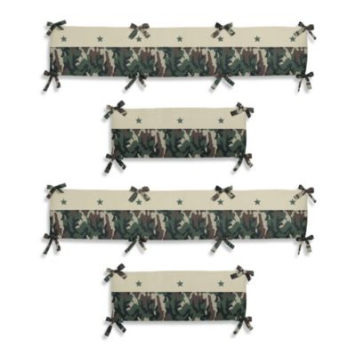 Sweet Jojo Designs Camo Crib Bumper in Green