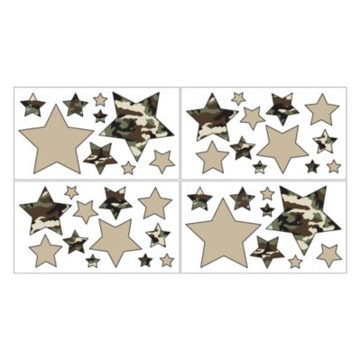 Sweet Jojo Designs Camo Removable Wall Decal Stickers in Green