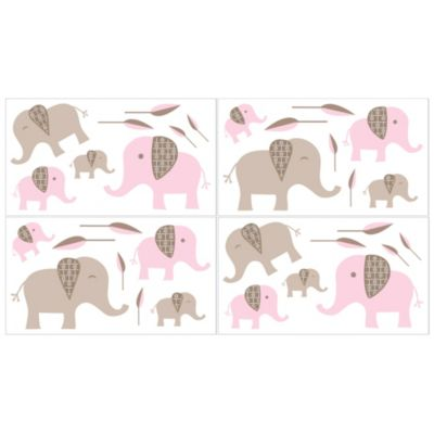 Sweet Jojo Designs Mod Elephant 4-Piece Wall Decals Set in Pink/Taupe