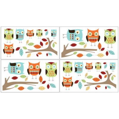 Sweet Jojo Designs Hooty Wall Decals in Turquoise/Lime