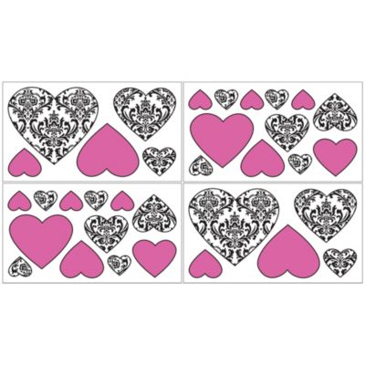 Sweet Jojo Designs Isabella Removable Wall Decals in Pink/Black/White