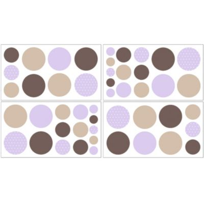 Sweet Jojo Designs Mod Dots Collection Removable Wall Decals in Purple/Chocolate