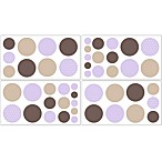 Sweet Jojo Designs Mod Dots Removable Wall Decals in Purple/Chocolate