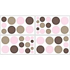 Sweet Jojo Designs Mod Dots Wall Decals in Pink/Chocolate (Set of 4)