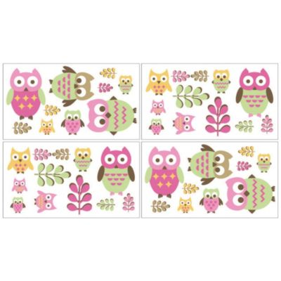 Sweet Jojo Designs Happy Owl Wall Decals in Pink