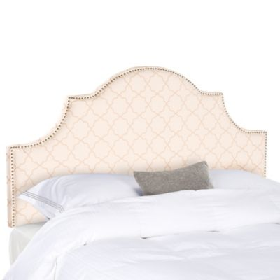 Safavieh Hallmar Arched Full Headboard in Pale Pink/Beige