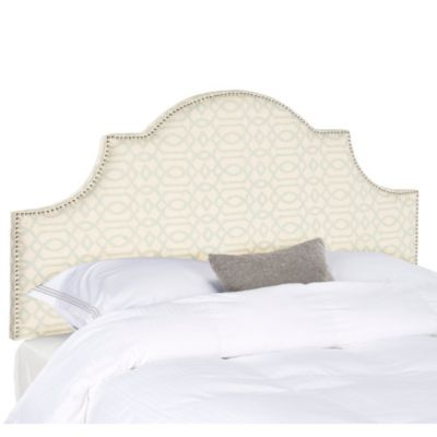 Safavieh Arched Full Hallmar Linen Headboard in Wheat/Pale Blue