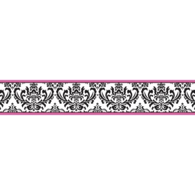 Sweet Jojo Designs Isabella Wall Border in Pink/Black/White