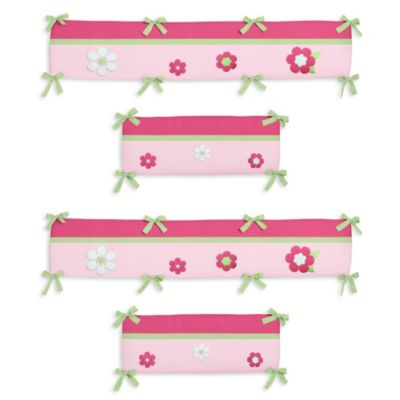 Sweet Jojo Designs Flower Pink and Green 4-Piece Crib Bumper