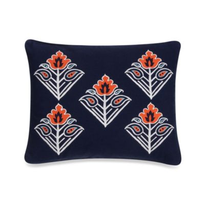 Oasis Flower Embroidered Oblong Toss Pillow