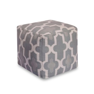 Long Trellis 20-Inch Square Pouf in Grey