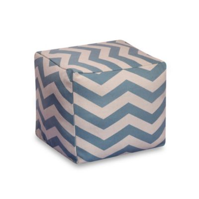 Chevron 20-Inch Square Pouf in Seafoam