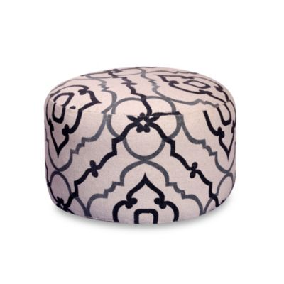 Cannes 24-Inch Round Pouf in Grey