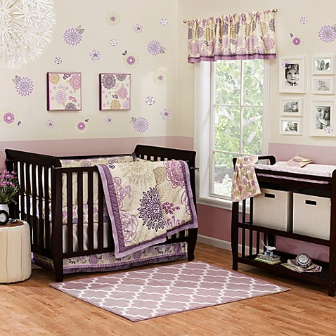 Purple Dahlia Crib Bedding