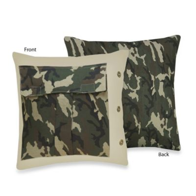 Sweet Jojo Designs Camo Decorative Pillow in Green