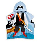 Printed Pirate Hooded Velour Kids Beach Towel in Multi/Black