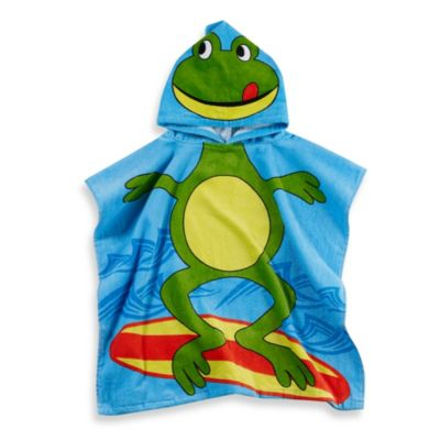 Printed Frog Hooded Velour Kids Beach Towel in Green/Blue