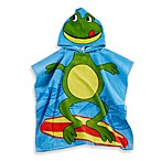 Kids Printed Frog Hooded Beach Towel in Green/Blue
