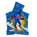 Printed Superhero Hooded Velour Kids Beach Towel in Multi/Blue