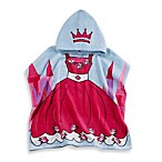 Printed Princess Hooded Velour Kids Beach Towel in Pink/Blue