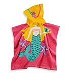 Printed Mermaid Hooded Velour Kids Beach Towel in Multi/Pink
