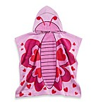 Printed Butterfly Hooded Velour Kids Beach Towel in Pink