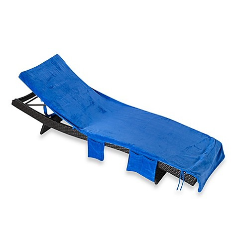 Buy striped chaise lounge chair cover in blue from bed for Beach towel chaise lounge cover