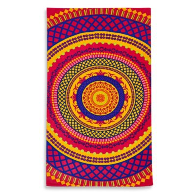 "Aztec Medallion 34"" x 64"" Printed Velour Beach Towel"