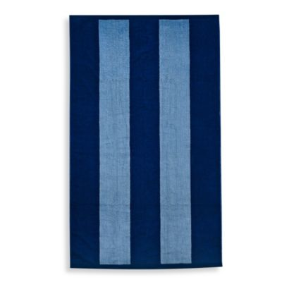 "Resort Stripe 40"" x 70"" Jacquard Beach Towel in Navy"