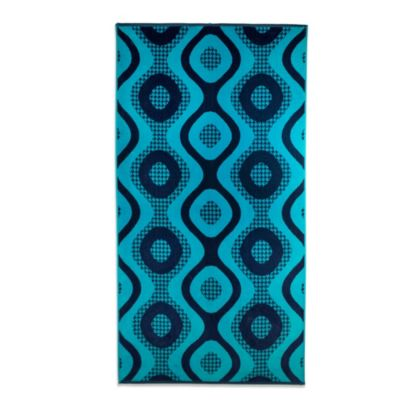 Blue Houndstooth Oversized Beach Towel