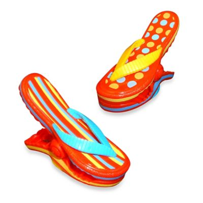 Stripe Flip Flop Boca Towel Clips™ in Blue (Set of 2)