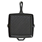 11-Inch Pre-Seasoned Square Cast Iron Skillet with Ribs in Black