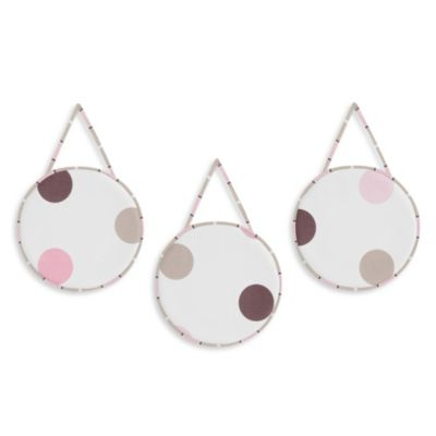 Sweet Jojo Designs Mod Dots 3-Piece Wall Hanging Set in Pink/Chocolate