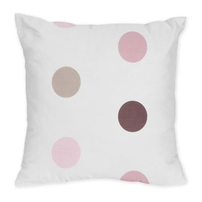 Sweet Jojo Designs Mod Dots Decorative Throw Pillow in Pink/Chocolate
