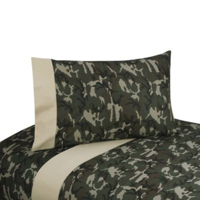 Sweet Jojo Designs Camo Sheet Set in Green