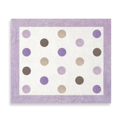 Sweet Jojo Designs Mod Dots Floor Rug in Purple/Chocolate