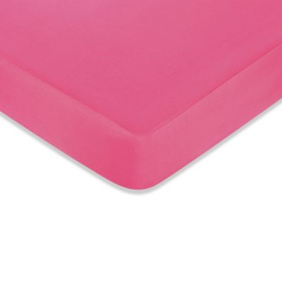 Sweet Jojo Designs Flower Pink and Green Fitted Crib Sheet in Dark Pink