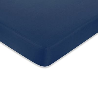 Sweet Jojo Designs Nautical Nights Fitted Crib Sheet in Dark Blue