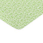 Sweet Jojo Designs Olivia Fitted Crib Sheet in Green Scroll
