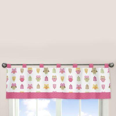 Sweet Jojo Designs Happy Owl Window Valance in Pink