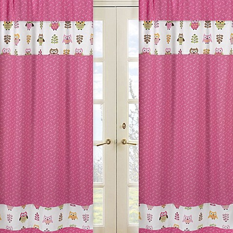 Buy Sweet Jojo Designs Happy Owl Window Curtain Panel Pair In Pink From Bed Bath Beyond