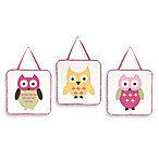 Sweet Jojo Designs Happy Owl 3-Piece Wall Hanging Set in Pink